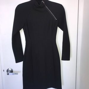 Theory long sleeve black dress with zipper, 00